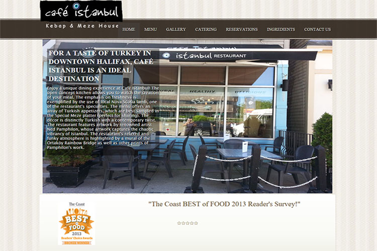 Cafe Istanbul website design hosting and development Montreal halifax nova scotia
