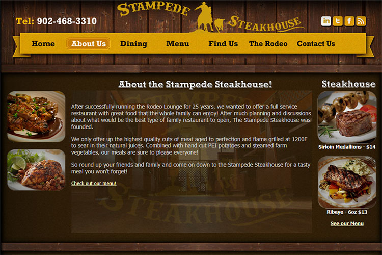 Stampede Steakhouse website design hosting and development Montreal halifax nova scotia