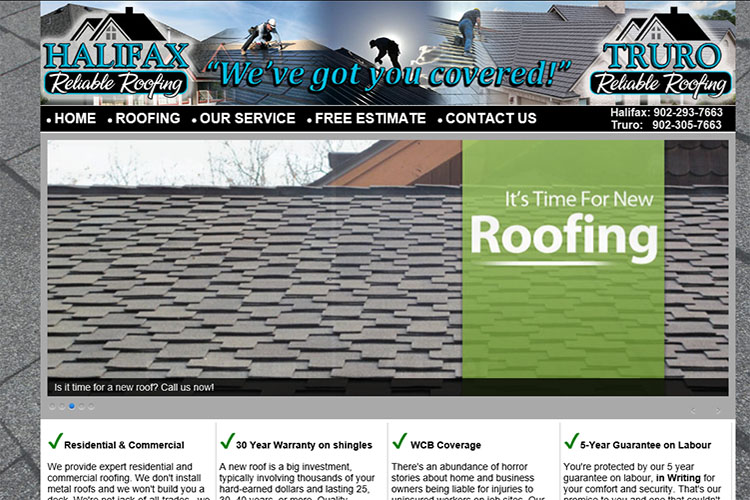 Reliable Roofing website design hosting and development Montreal halifax nova scotia