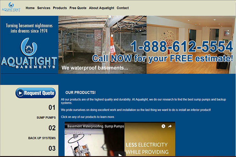 Aquatight Basements website design hosting and development halifax nova scotia