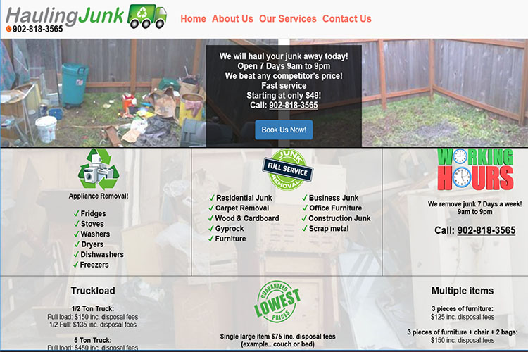 Hauling Junk website design hosting and development Montreal halifax nova scotia