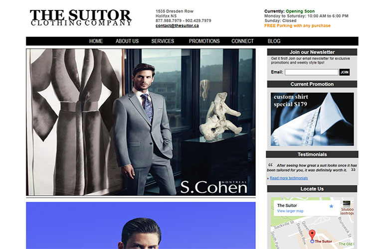 The Suitor website design hosting and development Montreal halifax nova scotia